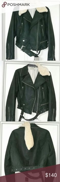 Dark green leather like moto jacket New. Beautiful Dark green almost black moto jacket biker coat cropped blazer. Faux fur collar is removable. Belt is also removable. Could dress it up for night out or office or dress it down with jeans and shorts this fall. Great dark hunter green color. Fits true to size bit for looser fit order down a size. NO TRADES Zara Jackets & Coats