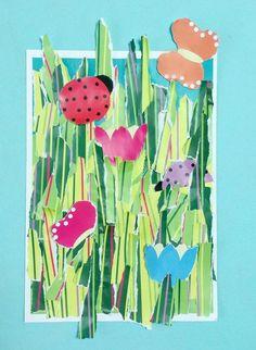 Free printable no scissors garden craft painting for kids, art for kids Garden Crafts For Kids, Daycare Crafts, Summer Crafts, Kids Crafts, Craft Activities For Toddlers, Preschool Art, Art Activities, Sand Crafts, Rock Crafts