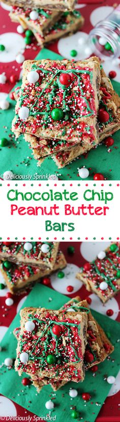 Chocolate Chip Peanut Butter Bars - these bars are the perfect holiday dessert.
