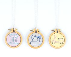 KitchenAid embroidered necklace - miniature embroidery hoop by dandelyne
