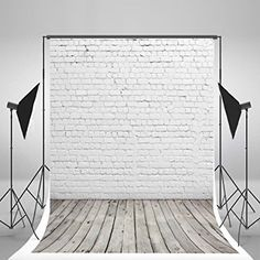 5x7ft White Brick Wall Photography Backdrop Light Grey Wood Floor Photo Backgrounds for Children CCWY29