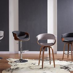 Chase Gas Lift Stool in Charcoal Grey Walnut Finish, Stools, Accent Chairs, Charcoal, Dining Chairs, Contemporary, Grey, Wood, Furniture