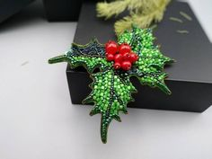Green red brooch Holly Leaf with berries, Christmas pin, floral beaded botanical jewelry, shawl costume lapel pin, bridesmaid hair clip - Green red brooch Holly Leaf with berries Christmas pin image 2 - Sister Christmas Presents, Handmade Christmas Gifts, Christmas Gifts For Her, Christmas Crafts, Christmas Tree, Bead Embroidery Jewelry, Beaded Embroidery, Little Sister Gifts, Beaded Brooch