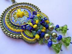 Frog Lampwork Cabochon Glass Beads Swarovski by AurielaDesign