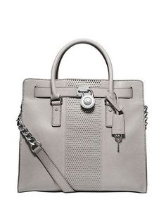 MICHAEL MICHAEL KORS Microstud Hamilton Center Stripe Large North South Tote