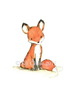 A little fox sits quietly, waiting patiently for...you? art print from an original watercolor, gouache, and acrylic painting by Kit Chase. archival matte paper
