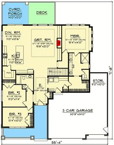 One-Level Traditional Home Plan with Split Beds - 890107AH floor plan - Main Level