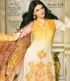 Gul Ahmed Trencia Satin Silk Festive Collection 2015 SS-52