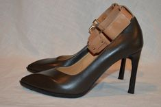 "New Sz 37-6.5 Lanvin Dark Brown Tan Ankle Strap 2011 3.5"" Heels Classic Pumps #Lanvin #PumpsClassics"