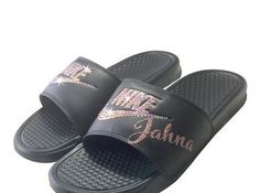 bc40dfb864d9 Women's Nike Slides Glitter Shoes with Your Name On Them- Bedazzled Bling  Nike JDI Sandals