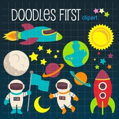 Space Adventure in Outerspace  Digital Clip Art for Scrapbooking Card Making Cupcake Toppers Paper Crafts