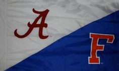 Alabama and Florida house divided flag in hand sewn style with sleeve or grommet finish. House Divided Flags, University Of Alabama, Florida Home, Hand Sewing, Divider, Sleeve, Manga, Sewing By Hand, Finger