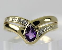 Diamond Accent 14k Yellow Gold Pear Shaped Amethyst Chevron Ring Size 7.5 #Unbranded #Chevron