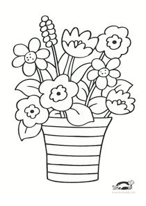 Spring Coloring Pages, Flower Coloring Pages, Coloring Book Pages, Coloring Pages For Kids, Coloring Sheets, Art Drawings For Kids, Easy Drawings, Art Quilling, Preschool Coloring Pages