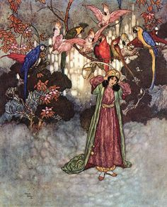 """Edmund Dulac ~ Beauty in the Garden ~ The Sleeping Beauty and Other Tales from the Old French ~ Hodder & Stoughton ~ 1910. """"They no sooner saw Beauty than they began to scream and chatter."""" (Source: artsycraftsy.com / artofnarrataive.tumblr.com)"""