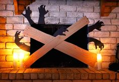 Easy Halloween Home Decor - Boarded Up Fireplace