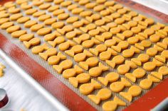 Homemade Goldfish Crackers. Shows you how to make the fish cookie-cutter, too!