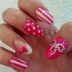 24 Trendy Nail Art Ideas - Style Motivation I'm not loving that big bow, other then that - Super cute.