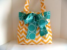 Handbag Made of Yellow Chevron  Fabric and Large by fromnancy, $64.00
