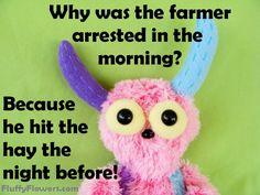 cute & clean farmer kids joke for children featuring an adorable monster :)