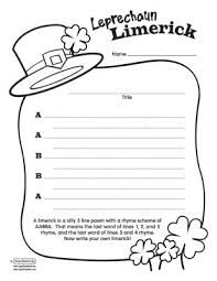 limerick writing activity for st. patrick\'s day with free printable ...