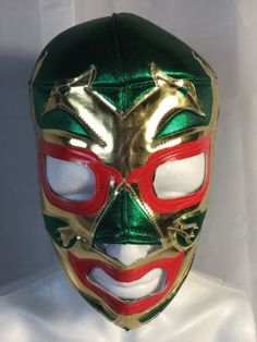 2 Caras Wrestling Luchador Mask Green Gold Red Must Have Item Classic Item | eBay