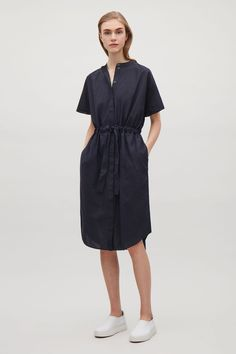 COS image 4 of Drawstring shirt dress in Navy