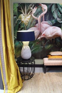 Vintage decoratie met flamingo's