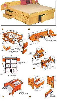 Делаем кровать с ящиками своими руками (чертежи)