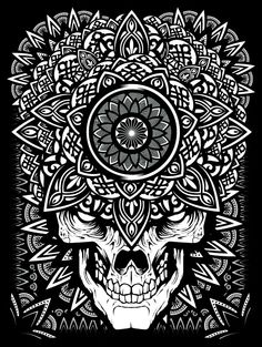 7f21bcda929 Skull and mandala Geometric Graphic Design