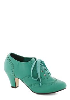 Dance Instead of Walking Heel in Mint - Solid, Vintage Inspired, 20s, 30s, Mid, Lace Up, Good, Mint, Party, Work, Variation, Exclusives, 60s...