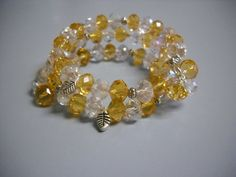Elegant CRYSTAL and TOPAZ Beaded Memory Wire by Beads4You2008,