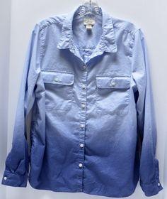 LEVIS Blue Ombre Large White Tag Tab Long Sleeve Button Up L 100% Cotton #Levis #ButtonFront