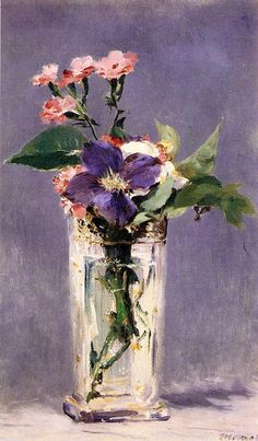 Pinks and Clematis in a Crystal Vase, Edouard Manet  Size: 56x35.5 cm Medium: oil on canvas