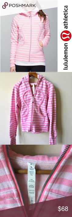 Lululemon |  Scuba Hoodie Pink |  sz 6 Perfect condition...like new! Lululemon scuba hoodie in the color apex stripe pink. The cotton fleece has stretch so the hoodie moves everywhere you do. Thumbholes and snug cuffs keep sleeves downs and make layering easy. lululemon athletica Jackets & Coats