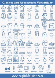 Clothes vocabulary for English learners Clothes and accessories vocabulary for ESL students in pictures Learning English For Kids, English Worksheets For Kids, English Lessons For Kids, Kids English, English Activities, Teaching English, Learning Italian, French Lessons, Spanish Lessons