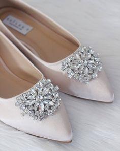 MarHermoso Womens Pointed Toe Slip On Elegant Rhinstones Flats Bridal Wedding Shoes