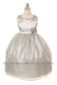 MB_270SV - Girls Dress Style 270 - SILVER Sleeveless Satin Dress with Sequin Skirt - Silver Grays - Flower Girl Dress For Less