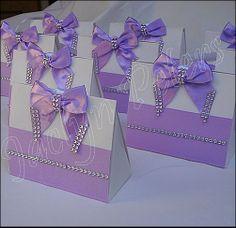 Elegant Purse Favor Box Lavender Rhinestone Bow Custom Colors