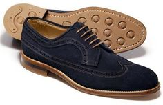 $199, Navy Suede Brogues: Charles Tyrwhitt Navy Suede Colville Wing Tip Brogue Shoes. Sold by Charles Tyrwhitt. Click for more info: http://lookastic.com/men/shop_items/142421/redirect