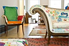 Love this fabric-marker graffiti couch and handpainted chair upholstery.