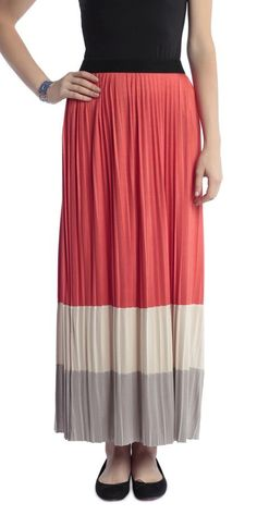 Pleated Color Block Maxi Skirt