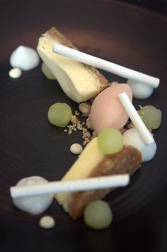 Mascarpone Cheesecake, Textures of Green Apple, Quince Sorbet