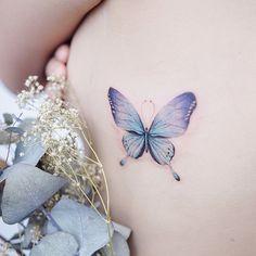 tattoos on neck on neck women tattoos on neck catcher tattoos on neck Purple Butterfly Tattoo, Watercolor Butterfly Tattoo, Purple Tattoos, Butterfly Tattoo On Shoulder, Up Tattoos, Life Tattoos, Body Art Tattoos, Flower Leg Tattoos, Back Of Neck Tattoo