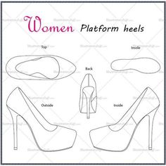 Fashion Design Drawing Women's Platform Heels Fashion Flat Template - Platform basic heels Top View Inside View Outside View Insole View Back View Thank you for buying. Fashion Design Jobs, Fashion Design Sketches, Fashion Drawings, Fashion Trends, Illustrator, Fashion Templates, Fashion Illustration Sketches, All About Shoes, Designs To Draw