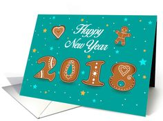 Festive card. Happy New Year 2018. Artistic ginger cookies font card