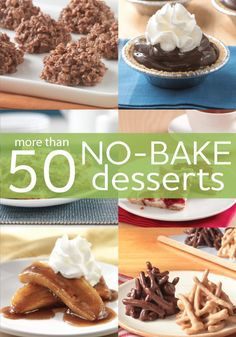 After dinner desserts in under 30 minutes! Try these easy no-bake dessert recipes for a sweet, homemade treat without even turning on the oven! Easy No Bake Desserts, No Bake Treats, Delicious Desserts, Yummy Food, Desserts Diy, Summer Desserts, Holiday Desserts, Healthy Desserts, Breakfast Dessert
