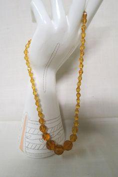 Vintage Amber Glass Bead Necklace Faceted Spring Clasp by KansasKardsStudio on Etsy