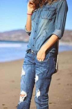 Ripped Denim Jeans With Denim Shirt