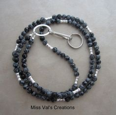 A snowflake obsidian ID badge lanyard. Cool for the cold months!